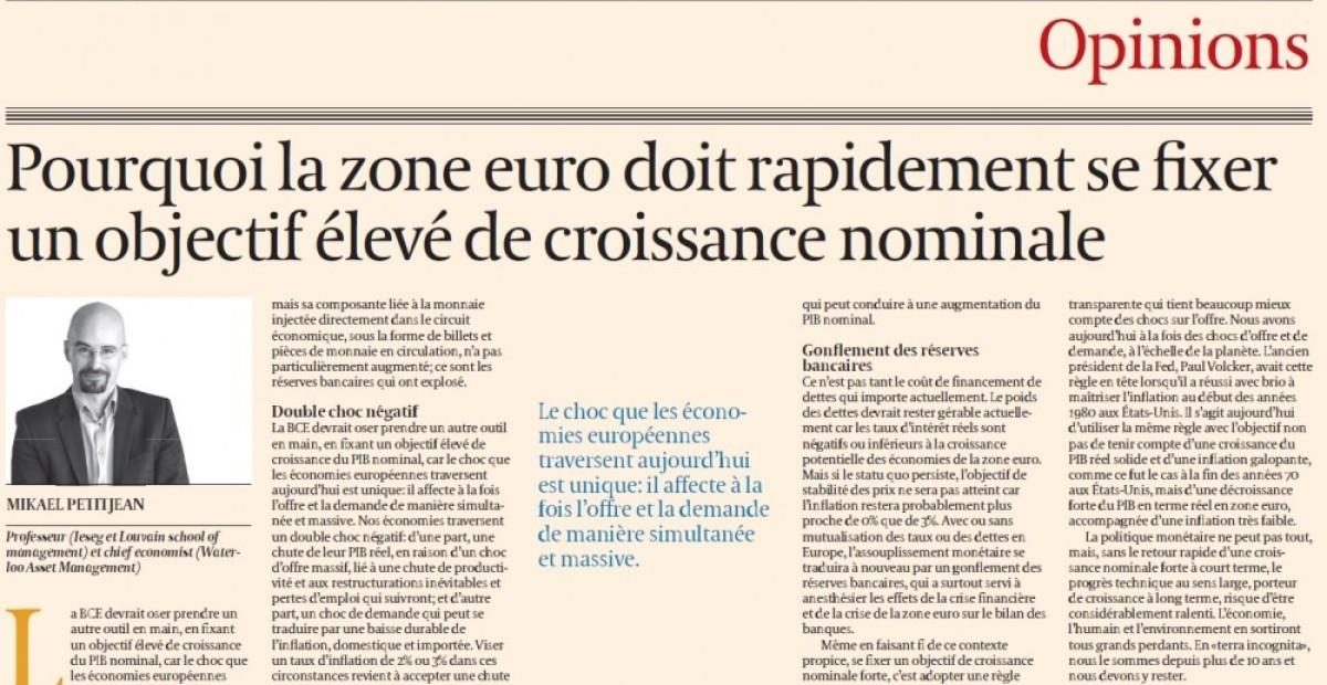 Article publié dans le journal financier L'Echo du 4 juin 2020 par Mikael PETITJEAN